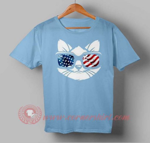 American Cat Face Flag Independence Day T shirt