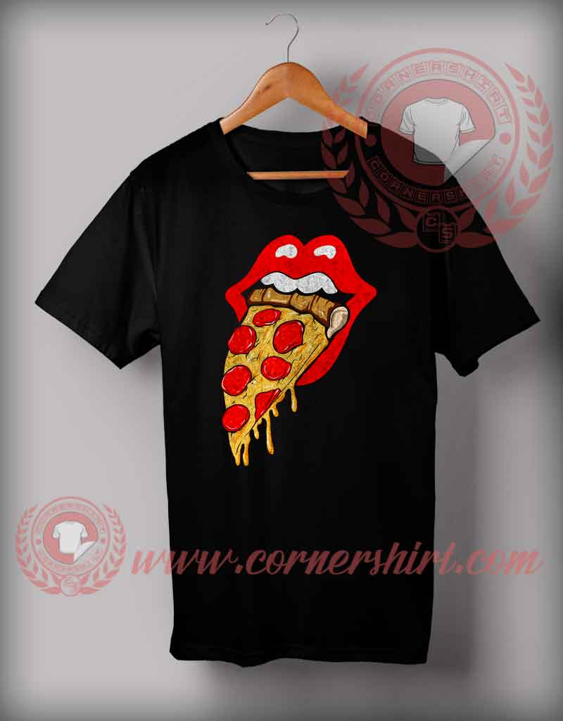 Cheap custom made rolling stones pizza t shirts for Cheap custom t shirts for one