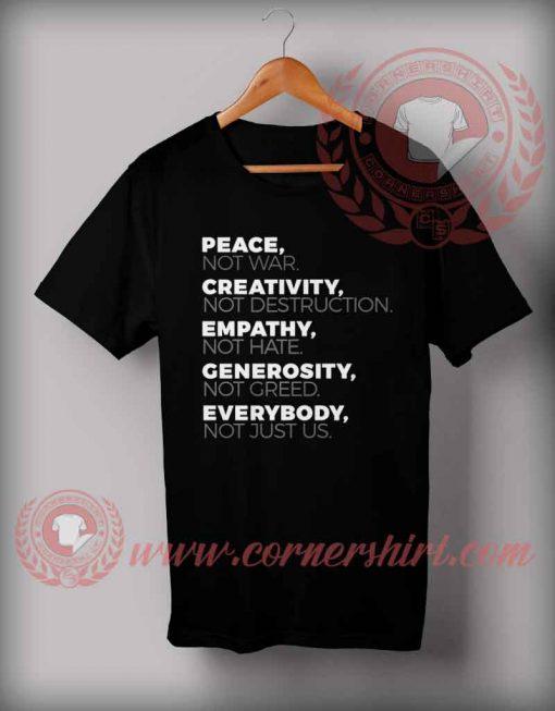 Cheap Custom Made Peace Not War Quotes T shirt