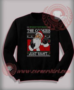 Just Right Santa Sweatshirt Funny Christmas Gifts For Friends
