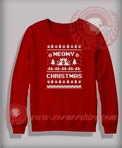 Meowy Christmas Sweatshirt Funny Christmas Gifts For Friends