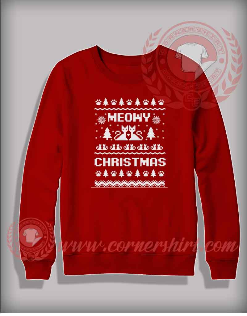Meowy Christmas Sweater.Meowy Christmas Sweatshirt Funny Christmas Gifts For Friends