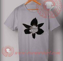 Black Flowers On Grey T shirt