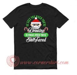 Santa Shit Face Drinking Christmas T shirt