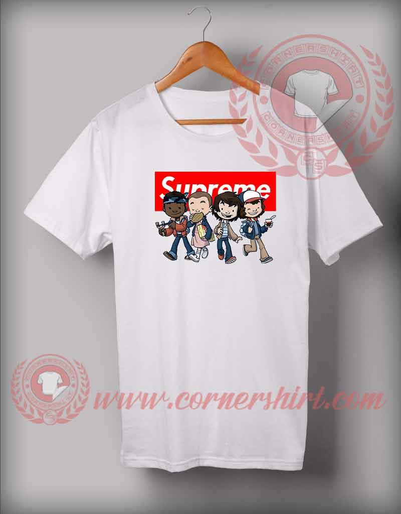 Custom design stranger things kids supreme t shirts for Custom kids t shirts