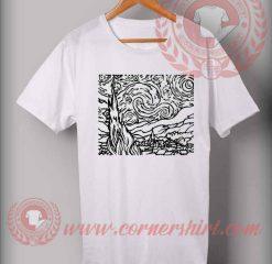 Night Outline Van Gogh Custom Design T shirts