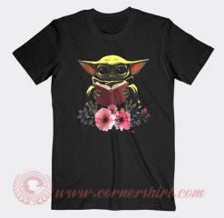 Baby Yoda Reading Book In The Flower Custom T Shirts